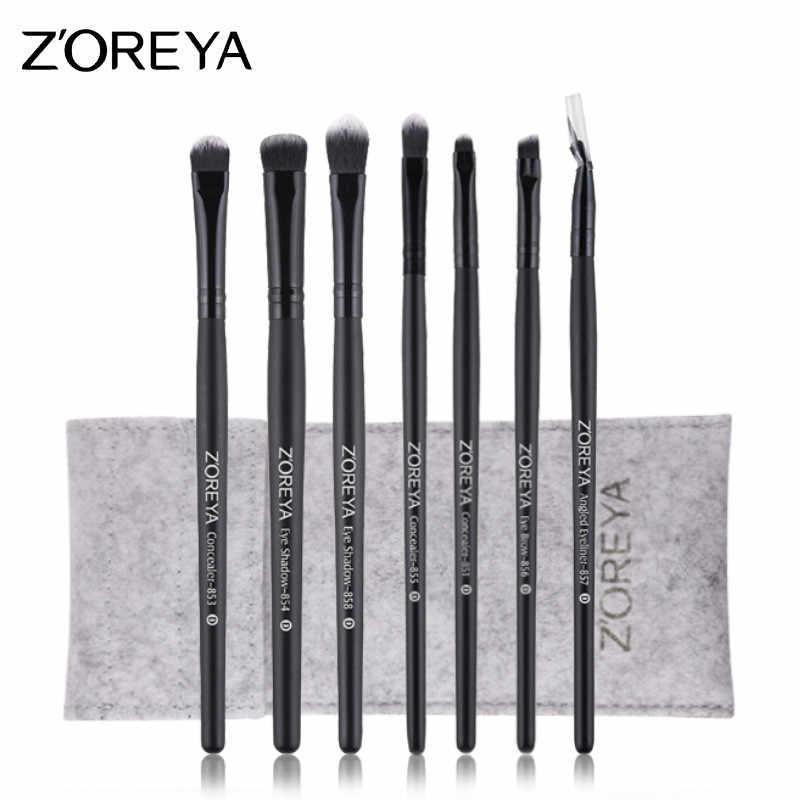 Zoreya marca 7 pçs pincéis de maquiagem para os olhos conjunto super macio balck compõem kits de escova sombra para os olhos sobrancelha cílios cosméticos ferramenta