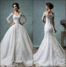 2016 New Sexy Sheer Long Sleeves Mermaid Full Lace Wedding Dresses Off The Shoulder Bridal Gowns With Removable Overskirt