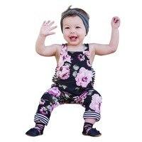 MUQGEW 2018 Bébé Filles D'été Floral Bande Barboteuse Squqre Col Salopette long Pantalon Vêtements Roupa Infantil GB2