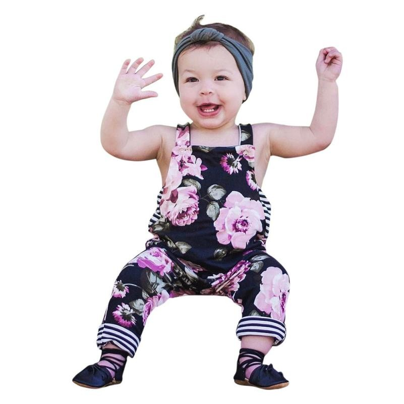 MUQGEW 2018 Baby Girls Summer Floral Stripe Romper Squqre Collar Jumpsuit long Trousers Clothes Roupa Infantil GB2