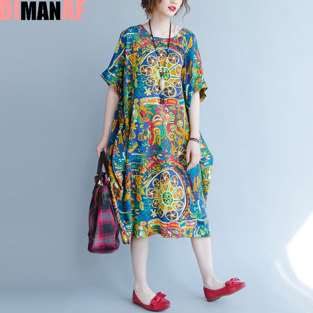 Dimanaf Plus Size Women Summer Dress Pattern Print Linen Female