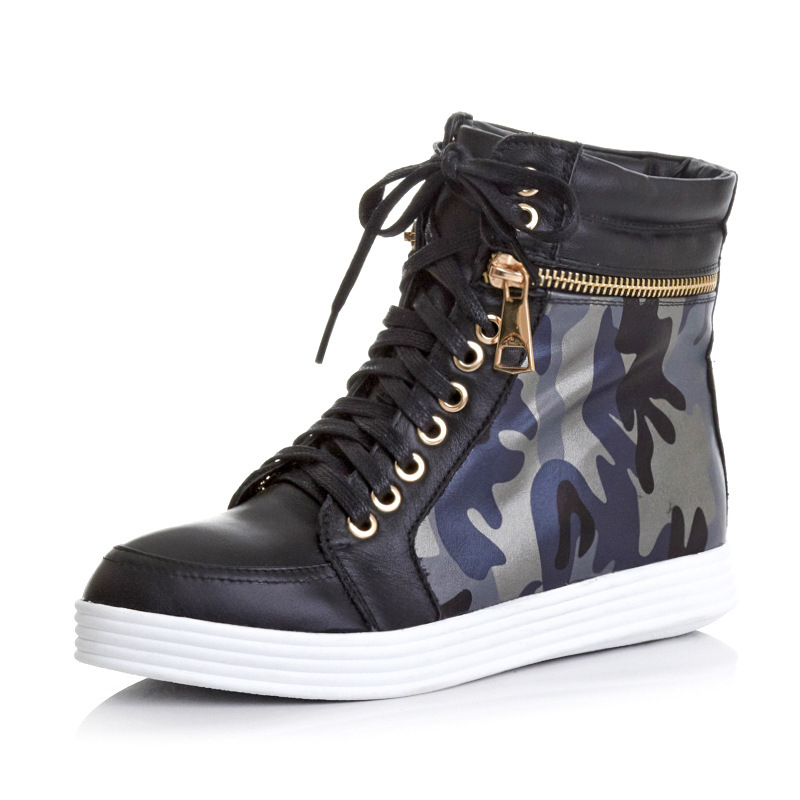 Women Spring Autumn Wedges Chunky Heel Genuine Leather Zipper Camouflage Lace Up Round Toe Casual Ankle Boots Size 34-39 SXQ0812 short brown high quality chunky fall round toe front lace up casual ankle boots autumn shoes genuine leather women booties heel