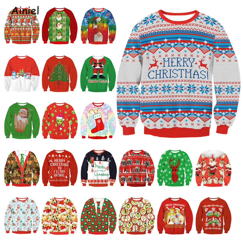 Merry Christmas Coat Santa Claus Pullover Tops Long Sleeve Sweaters Garment Clothes Round Neck for Women Men New Year Costumes