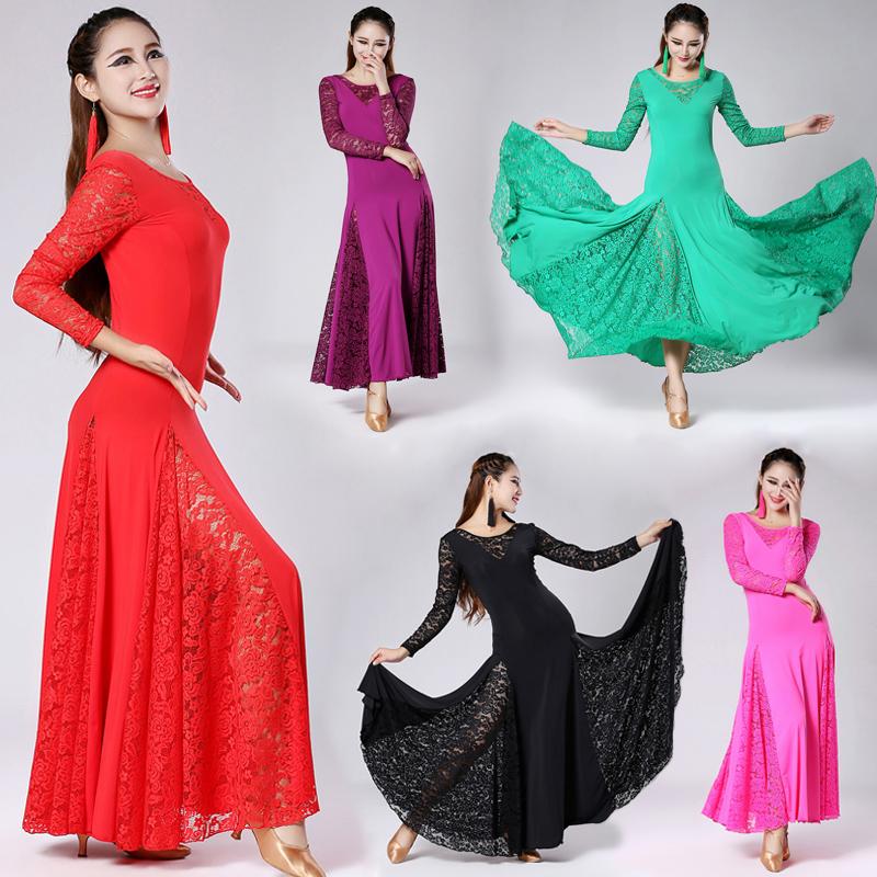 High Quality Modern Dance Ballroom Dancing Dress Fashion Sexy Lace Long Sleeves Dance Costumes Five Colors Available Long Dress
