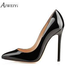 Aiweiyi fina clásica Tacones altos mujeres vestido Zapatos 12 cm estilete Tacones  altos charol negro desnudo mujeres Bombas part. 957ee8b42dd2
