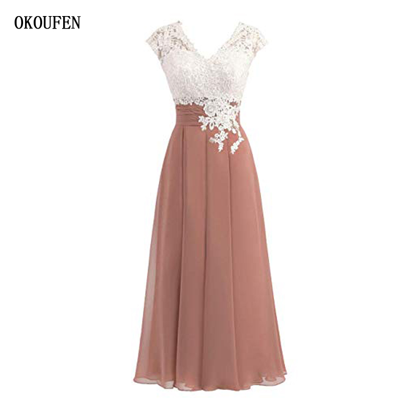 OKOUFEN Mother Of The Bride Dresses For Wedding 2019 Tea Length Cap Short Sleeve White Lace Chiffon V Neck Vestido De Madrinha