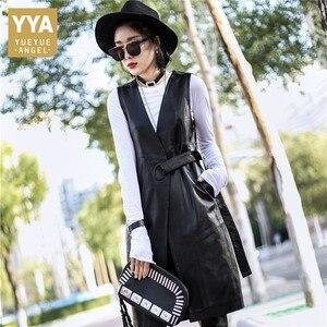 Image 1 - 2020 yaz moda kadınlar siyah hakiki deri yelek ceketler kemer ince gerçek kuzu derisi deri uzun siper ceket Streetwear bayanlar