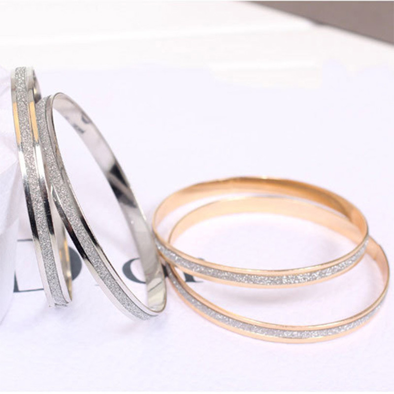 Simple Women Gold Silver Scrub Frosted Cuff Bracelet Round Hoop Circle Bangle Charming Women Fashion Hand Jewelry Accessories bangle