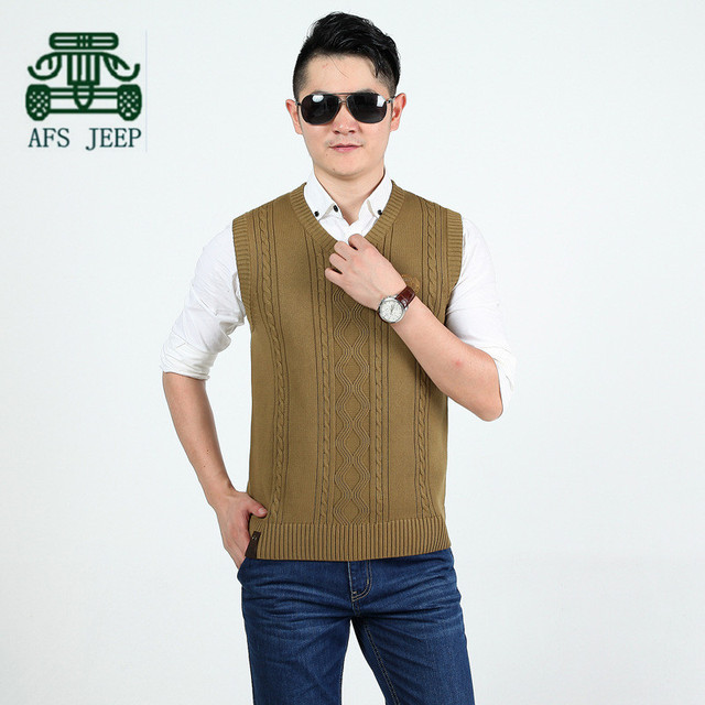 AFS JEEP 2015 Autumn Winter Men's Knitted Vest,Plus Size casual Man's V-neck Pullover Waistcoat,Thickness Sleeveless Sweater