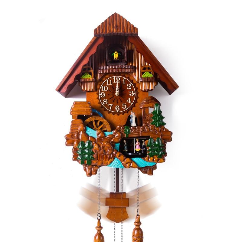 Music wall cuckoo clock wood fashion watches quieten timekeeping watch children gift presents figurine