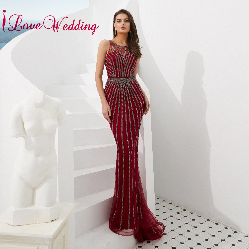 iLoveWedding 2019 Luxury Evening Dress O Neck Grey Sequins Formal Gown Sleeveless Red Liningg Mermaid Long