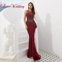 iLoveWedding 2019 Luxury Evening Dress O Neck Grey Sequins Formal Gown Sleeveless Red Liningg Mermaid Long Dresses Evening