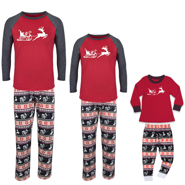 bf4ca02223 Family Matching 2018 Christmas Pajamas Kids Baby Boys Adult Deer Pajama  Sets Children s Pajama For Couples Ladies Sleepwear Sets