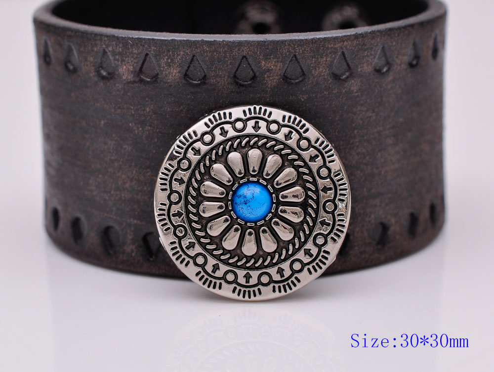 10PC 30X30MM Silver Plated Flower Turquoise Screwback Leathercraft Concho Button