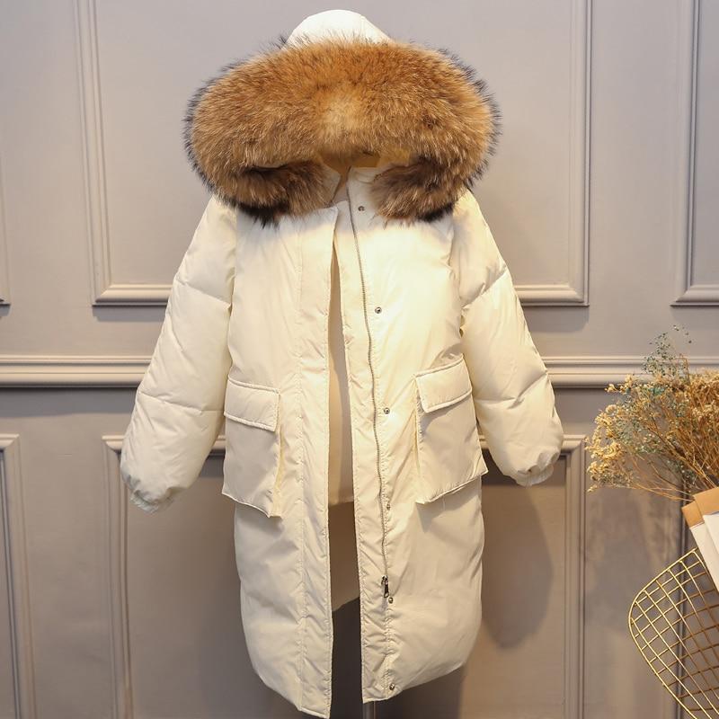Winter Jacket Women Duck Down Coat 2018 Long Parka Large Natural Raccoon Fur Collar Hooded Coats Parkas For Women Winter Jackets