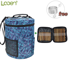 Looen 20pcs Bamboo Crochet Hook Set with Yarn Storage Bag Organizer For Crochet and Knitting Accessories Free Yarn Spring Guides