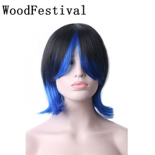 WoodFestival Color Mixing Women Black Blue Cosplay Wig Heat Resistant Synthetic Short Wigs with bangs