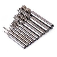 10pcs 4 Flute Straight Shank End Mill Set HSS CNC Milling Cutter For Wood Plastic Aluminum
