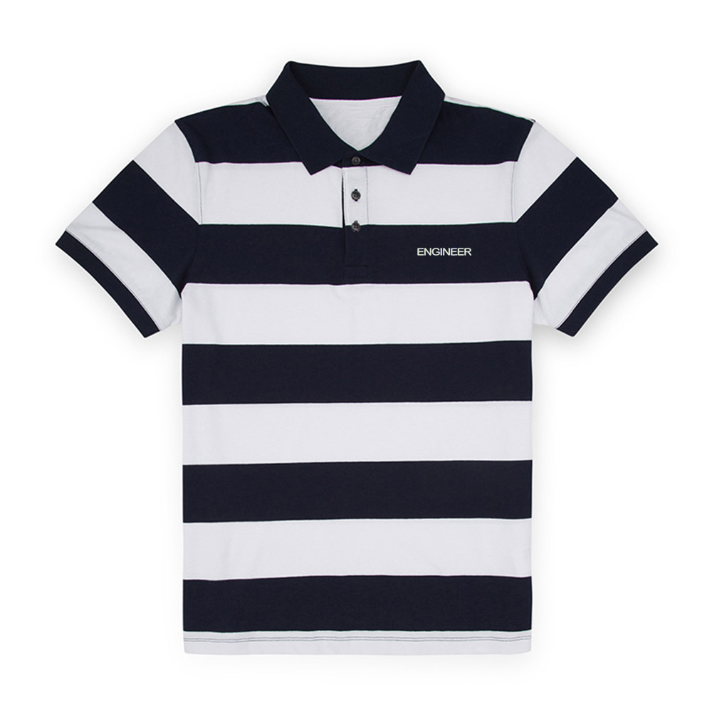 Mens Engineer Embroidered Knit Striped Short Sleeve   Polo   Shirts