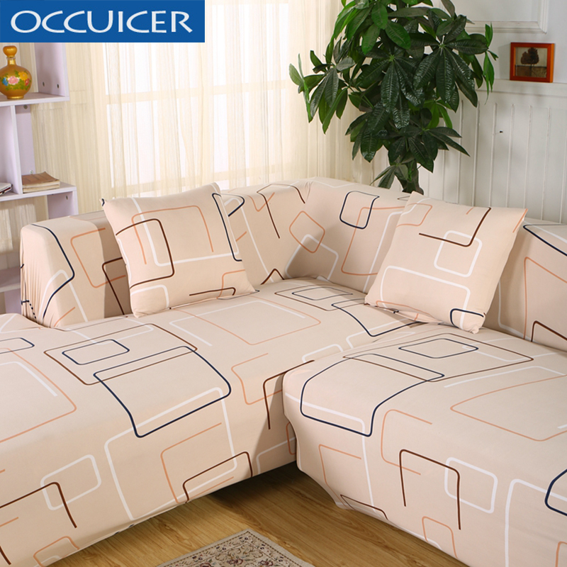 Universal Sofa Covers For L Shape 2pcs Polyester Fabric Stretch Slipcovers Pillow Sectional Couch