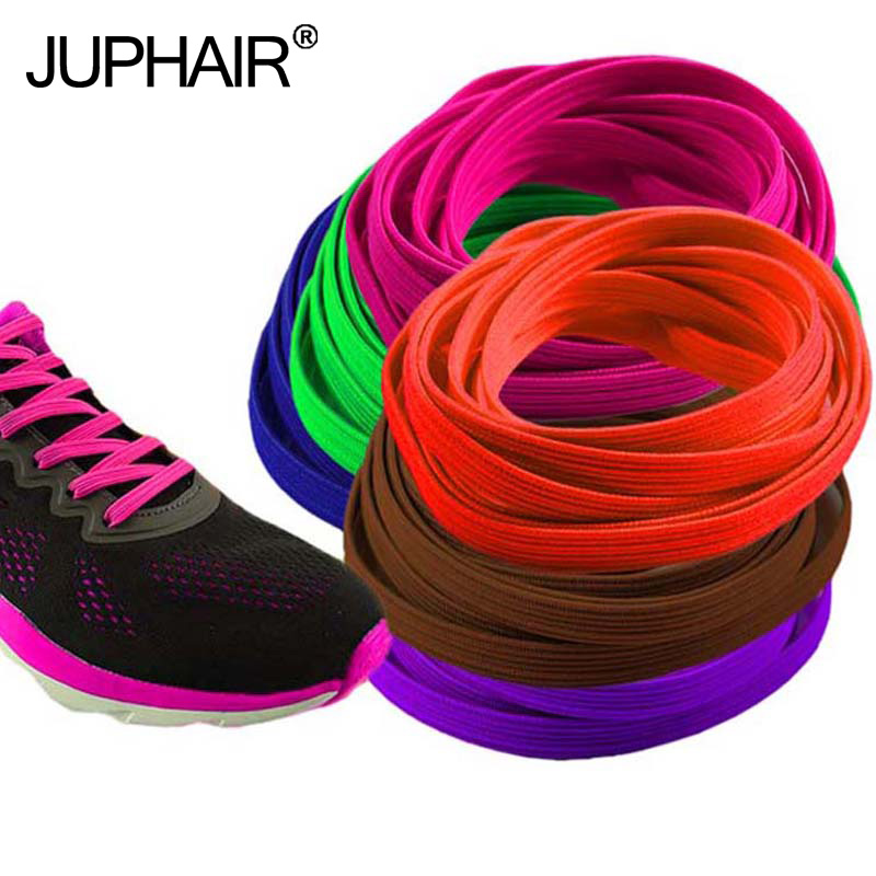 JUP 1 Pair Metal Lock Colorful Blue for Adults Children  Sneakers lazy Laces no Tie Elastic Shoes Flat Soles Lacing String Rope no–talk therapy for children