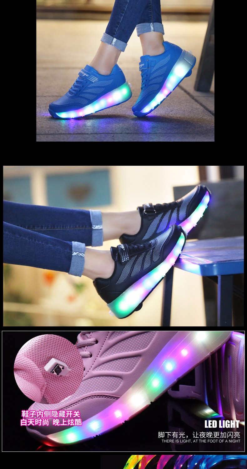 tenis de led infanti Kids Roller Shoes Boys Girls Light Up Glowing Sneakers with Wheels High Quality Popular 2