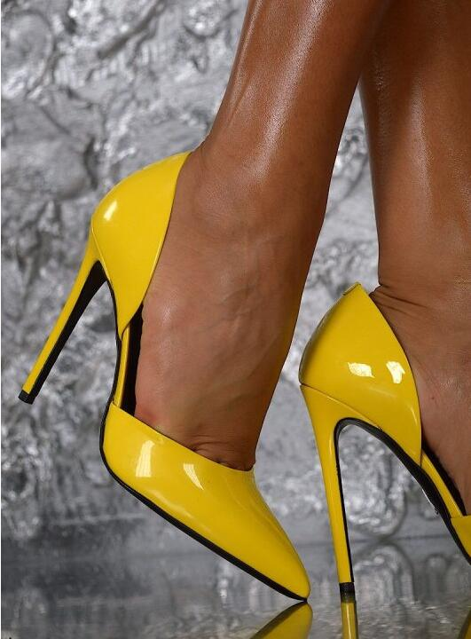 2017 Spring New Fashion Women Yellow Patent Leather Slip On Pointed Toe Thin Heels Pumps High Heel Shoes Party Shoes nayiduyun women genuine leather wedge high heel pumps platform creepers round toe slip on casual shoes boots wedge sneakers