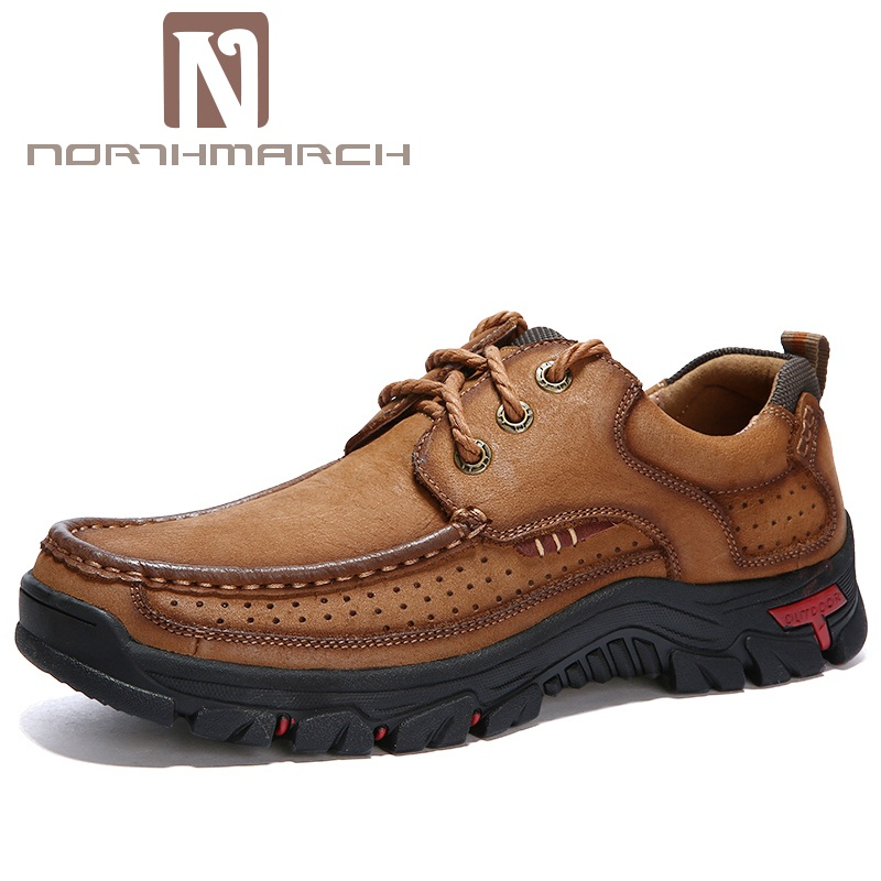 NORTHMARCH Shoes Men 2018 Spring/Autumn Fashion Men Casual Shoes Genuine Leather Lace-Up Breathable Thick Sole Outdoor Shoes
