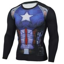 Mens Compression Shirts Superhero Movie Fitness t shirts Captain America Graphic Long Sleeve Tee Shirts Mens