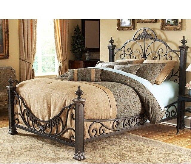 Estilo europeo cama de hierro forjado marco de metal cama de ...