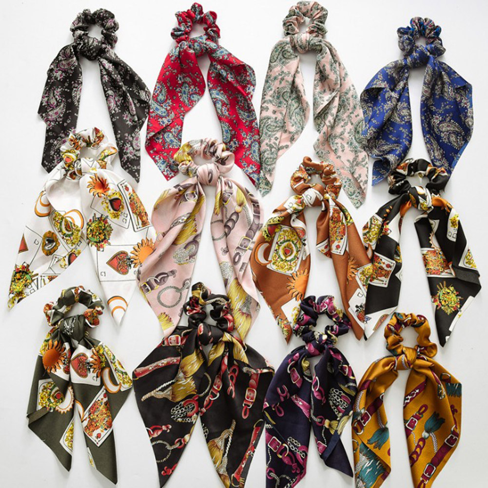 Diy Bow Streamers Elastic Hair Scrunchie Knotted Ribbon Ponytail Print 2019 New Fashion Bohemia Hair Acc Lady Scarf Hair Ties