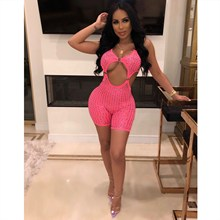 Hot Sale 2019 Fashion Women Crystal Studded Sexy Jumpsuit Sleeveless V-Neck Party Romper Solid Hollow Out Bodycon Playsuit