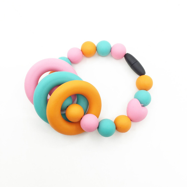 Silicone Teething Ring Toy in Peach Chewable Teether Silicone Teething Baby  Shower Gift Sensory Colour Rainbow Chewable Toy 01189f2f5c67