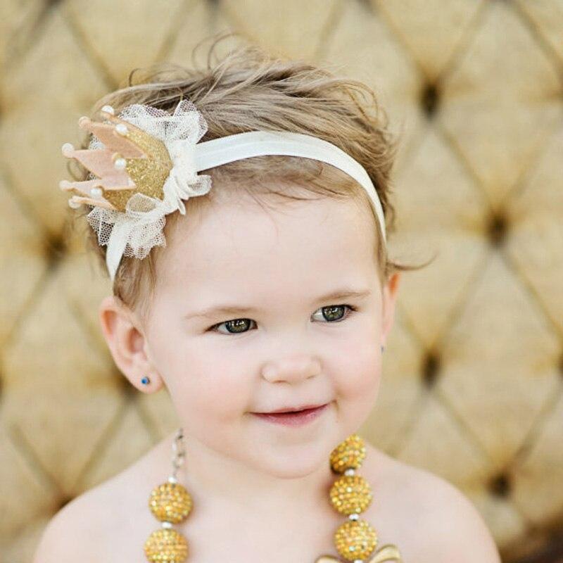1 UNID Lovely Girl Bebé de La Princesa Corona de La Reina Perla Tiara Hair Band