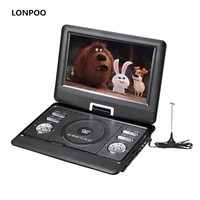 LONPOO Portable DVD Player 10.1 Inch Screen DVD Player Car Charger with Rechargeable Battery USB SD Card CD DVD Player APBAT
