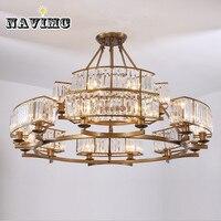 Винтаж Лофт Стиль кристалл светильник бронза черный хрустальная люстра абажур лампы для Гостиная E14 светодиодные лампы