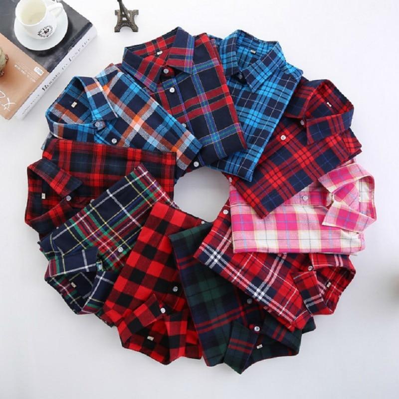 5xl women plaid shirt 2017 fashion student female blouses for Women s plus size plaid shirts