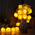 Battery Operated 3M 30 LED Pink Rose Lamp Decorative Flowers & Wreaths Engagement Wedding Festival Decoration Lights 9 Color