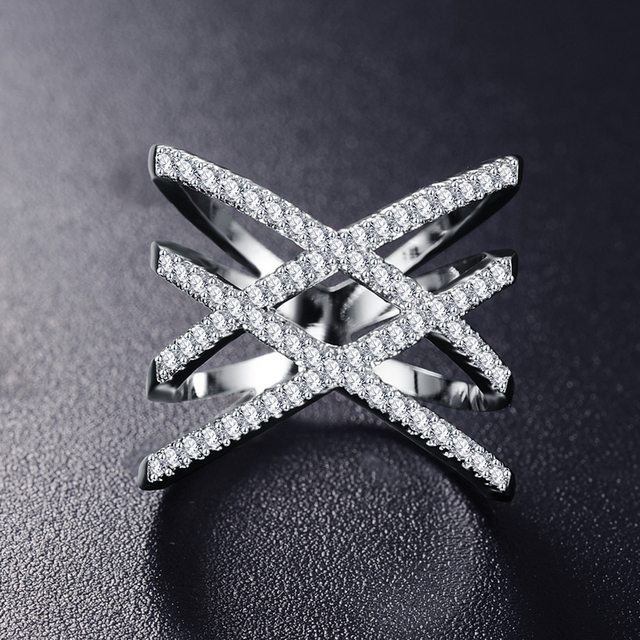Fashion Rings for Women Double Letter X Shape Ring Zirconia Micro Paved Silver Plated