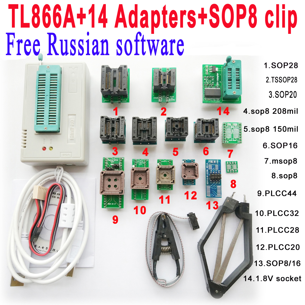 Free Russian software Original Minipro TL866A programmer 14 adapter socket SOP8 Clip IC clamp Bios Flash