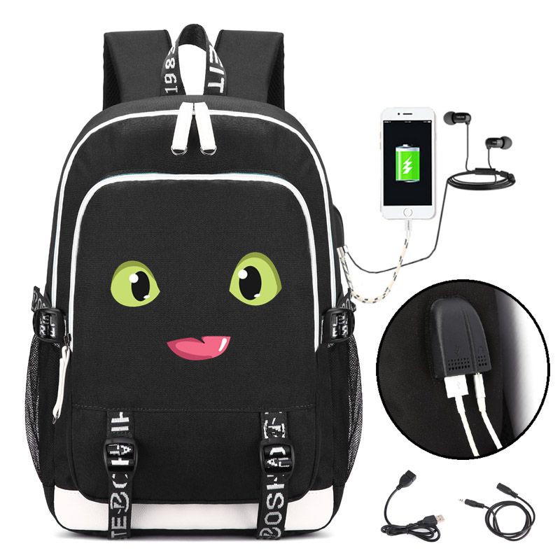 How to Train Your Dragon Backpack with USB Charging Port and Lock &Headphone interface for College Student Work fortnite backpack with usb charging port and lock