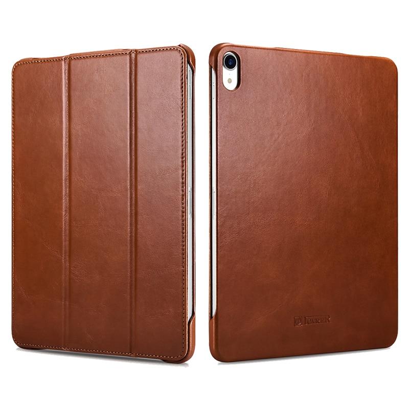 ICARER For iPad Pro 11 Case Vintage Genuine Leather Flip Folio Smart Case For Apple iPad Pro 11 inch Cover Auto Wake Sleep Bags