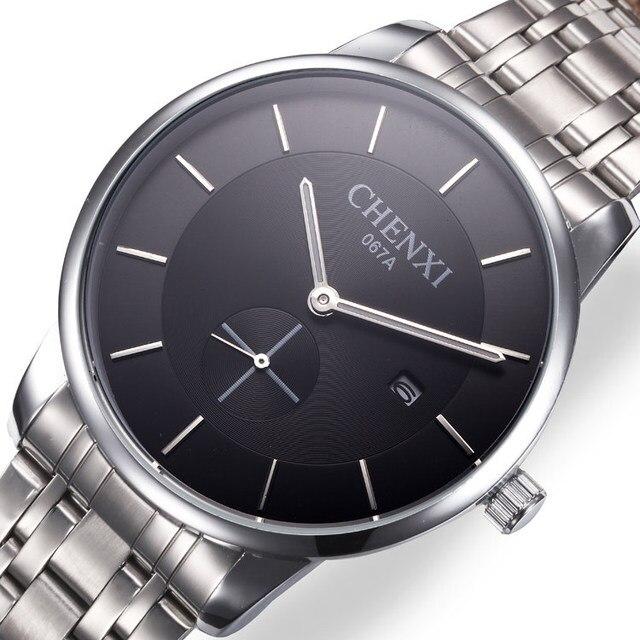 e767d4ec025eb 2018 جديد الأزياء CHENXI ووتش الفضة اللون رجل الساعات رداء علوي غير رسمي  العلامة التجارية الفاخرة