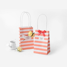 20 Set small gift bag with handles bow Ribbon stripe paper handbag Cookies candy Festival gift packaging bags Wedding party