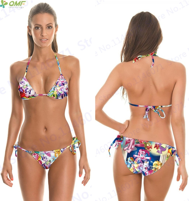 cd4db7f02ca93 My Little Pony Bikini Set Digital Printing Swimsuits Sexy Halter Bra Top Brazilian  Biquinis Two-Piece Strappy Bathing Suit Women