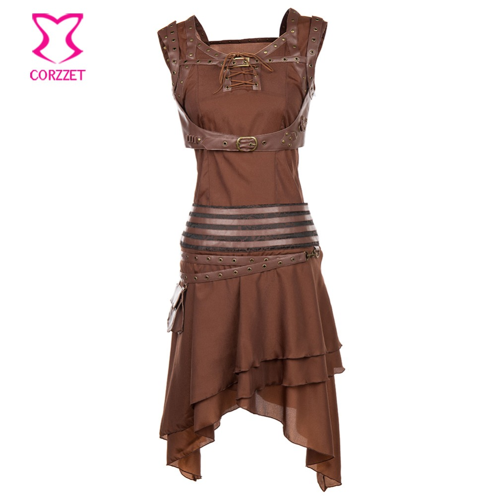 Gothic Brown Punk Armor Costume Set Steampunk PU Leather Rivet Chest Bundle Strap+Sleeveless Top+Skirt Sexy   Corset   Accessories