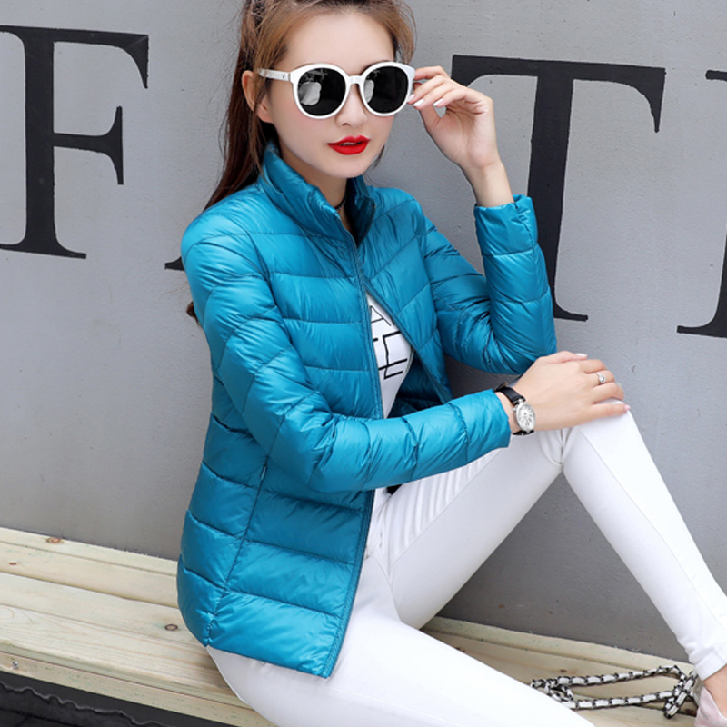 S- 3XL Plus Size Light and Thin Winter Parkas Women Stand Neck Jacket Zipper Short Coat Slim Outerwear Slim Padded Coat 2017