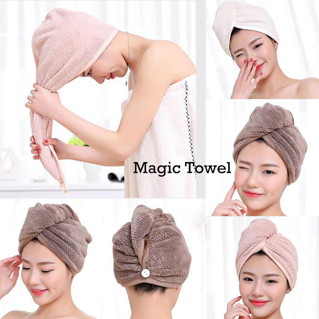 Women Hair Quick Drying Microfiber Towel Turban Knot Twist Loop Wrap Hat Cap