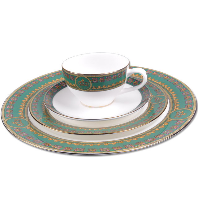 fashion royal classic fine bone china dinnerware set green color wedding gift