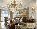 Современный европейский стиль  латунная люстра  светильник  антикварная латунная люстра  винтажная медная хрустальная лампа  100% гарантия